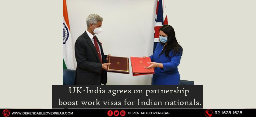 UK-India agrees on partnership -Boost work visas for Indian nationals.